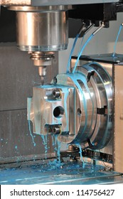 Close Up of Drilling Operation on a CNC Machine