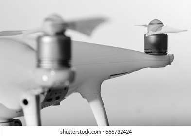Close up Drone sensor and drone propeller, focus is on second propeller