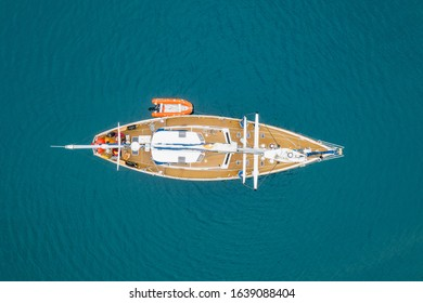close up drone view to yacht at the sea