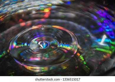 Close up of drop with colorful background. Falling water drop into water and making circles on water surface.