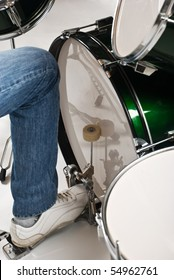Close up of drummer feet on the  bass drum pedal