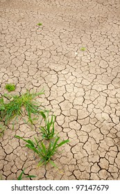 Close up of dry cracked ground