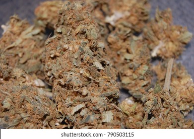 Close up of dry, low quality cannabis