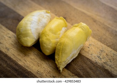 Close up the durian look delicious on wood background
