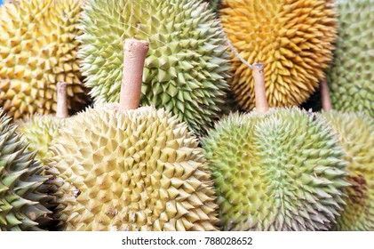 Close up of durian on display for sale