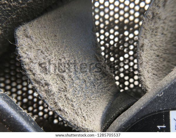close up of dust on PC electronic cooler fan