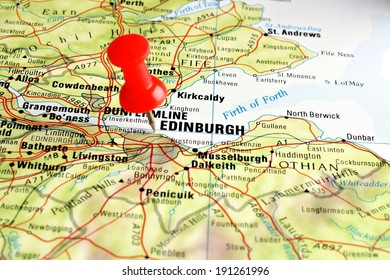 Close up of Edinburgh on a map with red pin
