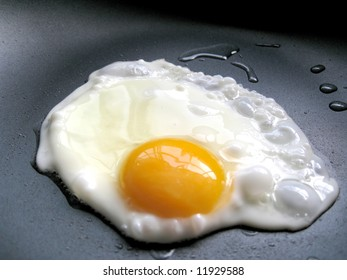 a close up for a egg in a frying pan