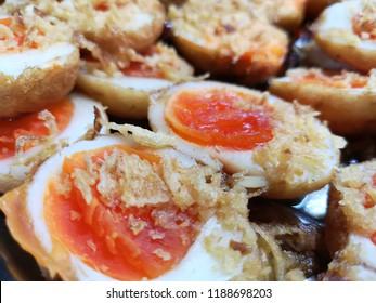 close up egg with Tamarind Sauce (Kai Look Keuy). thai food