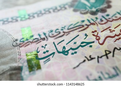 Close up the Egypt 10 Pound Banknote