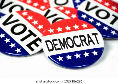 Close up of election voting pins for democratic party