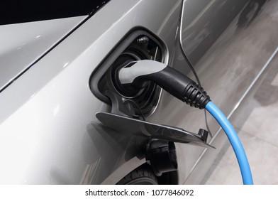 The close up of electric car charging plug, charging gray car.