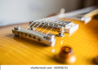 Close up electric guitar, patialy focused