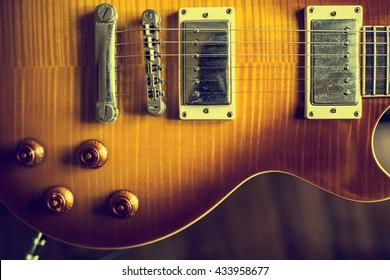 Close up electric guitar vintage tone