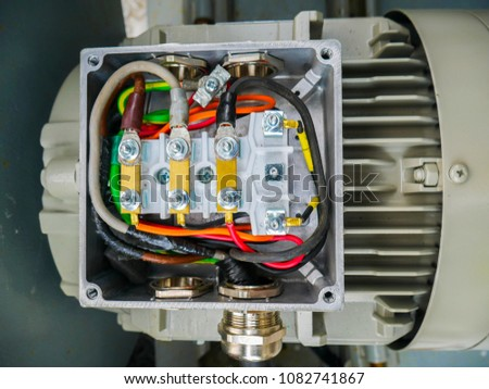 Close Electrical Cable Connecting Terminal Motor Stock