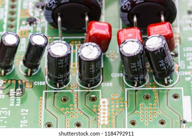 Close up of electrolytic capacitors