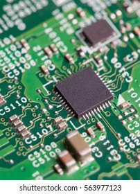 Close up of electronic components on the motherboard, microprocessor chip
