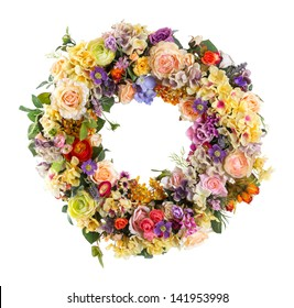 Close up Elegance flower Garland isolated on white - Artificial