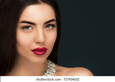 Close up Elegant woman fashion portrait, Sensual red lips,Holiday make up, Attractive brunette female,copy space,