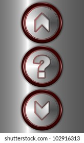 a close up of elevator buttons for going up and down with a question mark button in the middle / elevator buttons