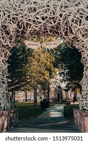 Close up of the elk antler arch with the moose antler sign welcoming visitors to Jackson Hole, Wyoming is located in the town square.