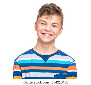 Close up emotional portrait of caucasian teen boy. Head shot of handsome guy. Funny cut teenager, isolated on white background. Child looking at camera.