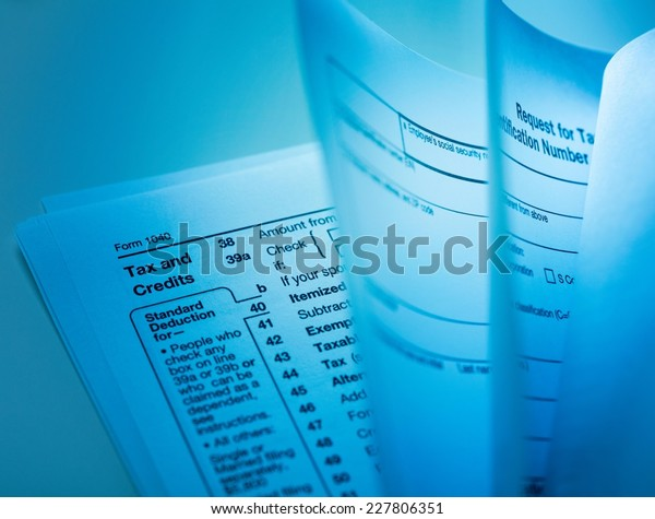 Close Employers Quarterly Federal Tax Return Stock Photo