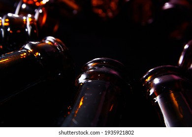 Close up of empty beer glass bottles