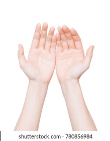 Close up of empty cupped hand, palms up isolated on white background