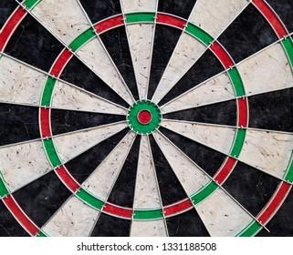 close up of empty dartboard on wall