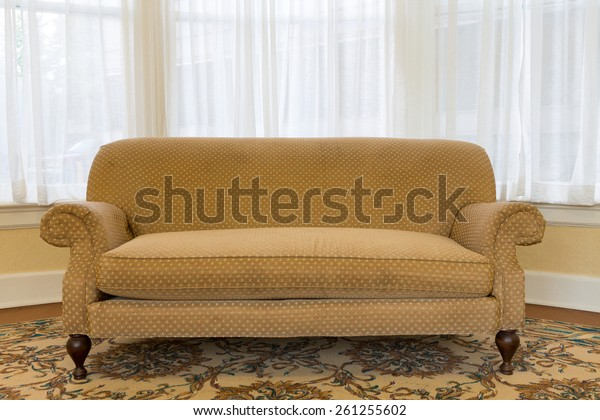 Groovy Close Empty Elegant Brown Couch Furniture Stock Image Caraccident5 Cool Chair Designs And Ideas Caraccident5Info