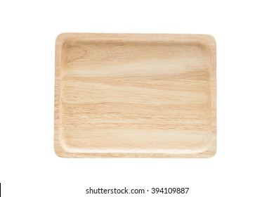 Close up empty flat wooden dish isolated on white background,with clipping path