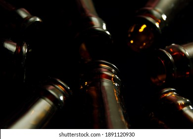 Close up of empty glass beer bottles