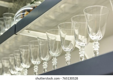 Close up empty glassess in restaurant