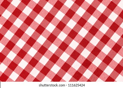 Close up of empty red checkered tablecloth with copy space
