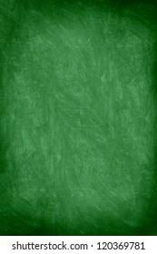close up of empty school chalkboard / green blackboard. Great texture. Photo.
