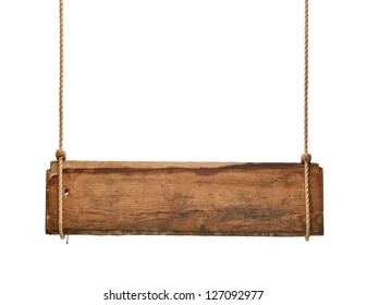 close up of an empty wooden sign hanging on a rope on white background