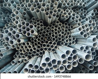Close up EMT steel conduit pipes bundles