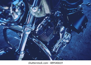 Close up of engine motorcycle. Chrome