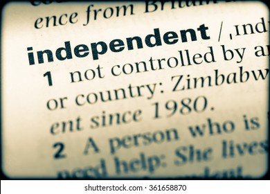 Close up of English dictionary page with word independent