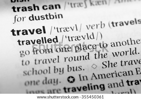 close english dictionary page word travel stock photo edit now