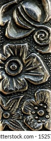 close up of an engraving in metal
