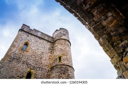 Close up of the entrance outside of Lewes Castle, East Sussex, Barbican House Lewes England. The old vintage Castle historical for visitor and traveler.