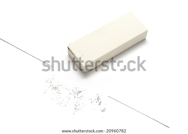 close up of eraser and line on white background