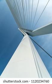 Close up of Erasmus bridge in Rotterdam, Netherlands