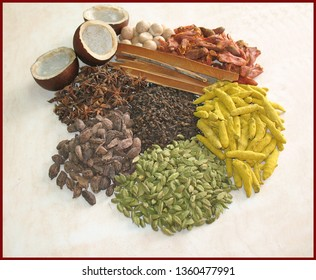 close up of essential Indian spices with dry coconut