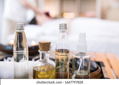 Close up of Essential Oil bottle at beauty spa salon for Relaxing oil massage