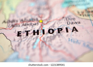 close up Ethiopia on map