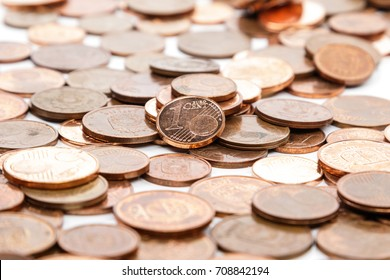 Close up of euro cent coins