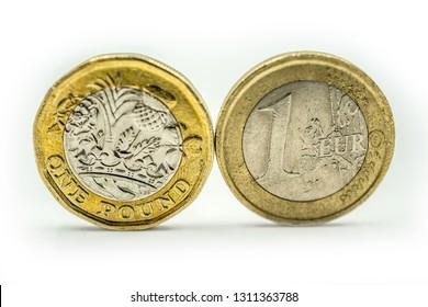 Close up €1 Euro coin & £1 UK pound coin